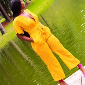 Mustard and White Polka Dot Jumpsuit